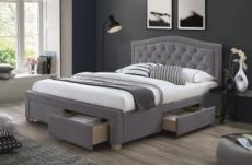 lit double en tissu velours de qualité elvira, gris, avec sommier à lattes, 160x200