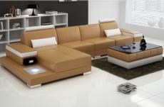 canapé d'angle en cuir italien 5 places enzo, beige et blanc
