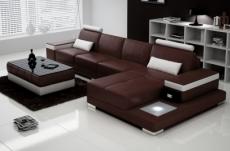 canapé d'angle en cuir italien 5 places enzo, chocolat et blanc