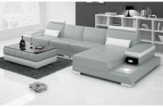 canapé d'angle en cuir italien 5 places enzo, gris et blanc