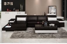 canapé d'angle en cuir italien 5 places enzo, noir et blanc