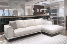 canapé d'angle en cuir italien 7/8 places enzo, blanc, angle droit