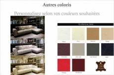 canapé d'angle en cuir italien 5 places enzo, couleur personnalisée, angle droit