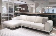 canapé d'angle en cuir italien 7/8 places enzo, blanc, angle gauche