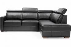 - canapé d'angle convertible en 100% tout cuir italien de luxe 5 places ernest, noir mat, angle droit