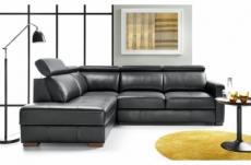 canapé d'angle convertible en 100% tout cuir italien de luxe 5 places ernest, noir mat, angle gauche