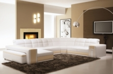 canapé d'angle en cuir italien 7/8 places evasion, blanc / beige.