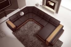 canapé d'angle en cuir italien 7/8 places evasion, chocolat / beige, angle gauche