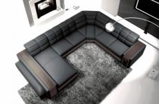 canapé d'angle en cuir italien 7/8 places evasion, gris foncé / chocolat.