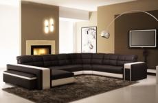 canapé d'angle en cuir italien 7/8 places evasion, noir blanc.