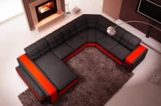canapé d'angle en cuir italien 7/8 places evasion, noir / rouge.