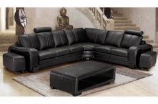 2eme paiement de la commande : canapé d'angle en cuir italien 7 places evita, noir, angle droit, 6x sans frais, total commande; 1908 euros