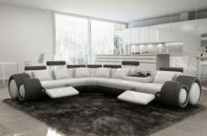 - canapé d'angle en cuir italien 5/6 places petit excelia, blanc et noir, angle gauche