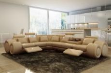 - canapé d'angle en cuir italien 7 places excelia, beige. 2 poufs offerts