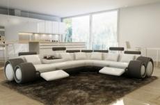canapé d'angle en cuir italien 7 places excelia, blanc et gris foncé. 2 poufs offerts