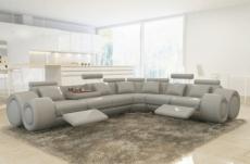 canapé d'angle en cuir italien 5/6 places petit excelia, gris clair, angle droit