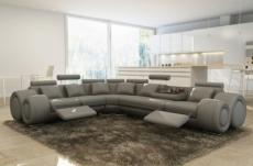 canapé d'angle en cuir italien 7 places excelia, gris clair.