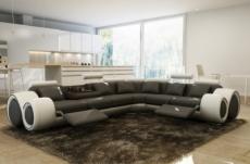 canapé d'angle en cuir italien 7 places excelia, gris foncé et blanc. 2 poufs offerts