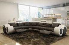 canapé d'angle en cuir italien 7 places excelia, gris foncé et blanc.