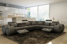 canapé d'angle en cuir italien 7 places excelia, gris foncé. 2 poufs offerts