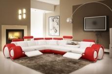 canapé d'angle en cuir italien 5/6 places petit excelia, blanc et rouge, angle gauche