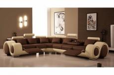 canapé d'angle en cuir italien 5/6 places petit excelia, chocolat et beige, angle gauche