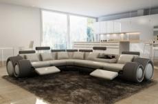 canapé d'angle en cuir italien 7 places excelia, gris clair et gris foncé. 2 poufs offerts. angle gauche.