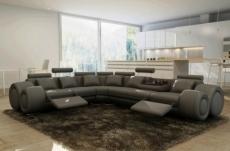 canapé d'angle en cuir italien 5/6 places petit excelia, gris foncé, angle gauche