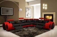 canapé d'angle en cuir prestige luxe  italien 7 places excelia, noir et rouge avec 2 tables ritz offerts