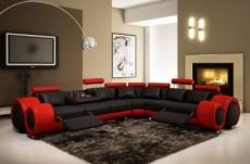 canapé d'angle en cuir italien :  5/6 places petit excelia, noir et rouge, angle droit