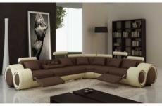canapé d'angle en cuir italien 7 places grand excelia, chocolat et écru, angle droit. 2 poufs offerts