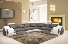 canapé d'angle en cuir italien :  5/6 places petit excelia, gris foncé et blanc, angle droit