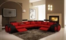 1er paiement de la commande: canapé d'angle en cuir italien 5/6 places petit excelia, rouge et noir angle droit, 6x sans frais, total de la commande: 1588 euros