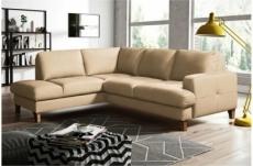 canapé d'angle convertible en cuir italien de luxe 4/5 places avec coffre, fareli, beige, angle gauche
