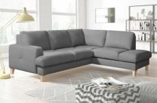 canapé d'angle convertible en cuir italien de luxe 4/5 places avec coffre, fareli, gris clair, angle droit