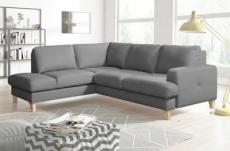 canapé d'angle convertible en cuir italien de luxe 4/5 places avec coffre, fareli, gris clair, angle gauche
