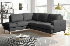 canapé d'angle convertible en cuir italien de luxe 4/5 places avec coffre, fareli, gris foncé, angle gauche