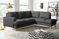 canapé d'angle convertible en cuir italien de luxe 4/5 places avec coffre, fareli, gris foncé, angle droit