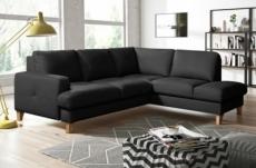 canapé d'angle convertible en cuir italien de luxe 4/5 places avec coffre, fareli, noir, angle droit