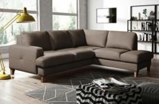 canapé d'angle convertible en cuir italien de luxe 4/5 places avec coffre, fareli, taupe, angle droit