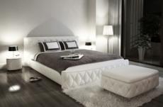 lit en cuir italien de luxe farniente, blanc, 140x190