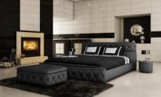 lit en cuir italien de luxe farniente, noir.