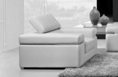 fauteuil 1 place en cuir italien alonso, blanc