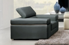 fauteuil 1 place en cuir italien alonso, gris foncé