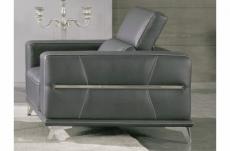 un fauteuil 1 place en cuir italien buffle vega, gris foncé avec surpiqure gris clair