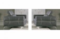 ensemble 2 fauteuils 1 place en cuir italien buffle vega, gris foncé avec surpiqure gris clair