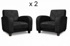 ensemble de 2 superbes fauteuils en tissu de qualité magda, noir