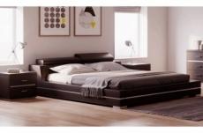 lit design en cuir italien de luxe fendo, avec sommier à lattes, couleur chocolat, 180x200