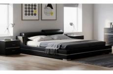 lit design en cuir italien de luxe fendo, avec sommier à lattes, noir, 140x190