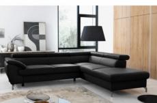 canapé d'angle convertible en cuir italien de luxe 5/6 places finlande avec coffre, noir, angle droit